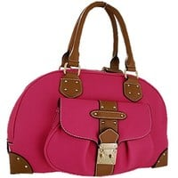 Nice Fashion Satchel Bag Purse w/ Decorative Front Flap Lock Fuchsia
