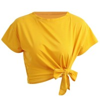 Short Sleeve Crop Top Bow
