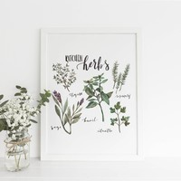 Kitchen Culinary Herbs Art Print or Canvas