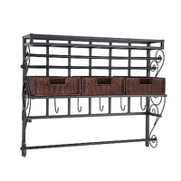 Wall Mount Craft Storage Rack with Baskets, Black Mount Woven Baskets New