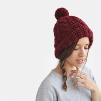 Cable knit burgundy ski beanie hat with pom pon / Hand Knitted