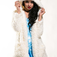 Fuzzy Teddy Bear Jacket White