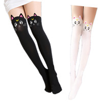 Sailor Moon Tights Luna Cat Faux Thigh High Pantyhose