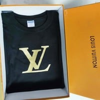 Louis Vuitton LV Summer Fashion New Bust Letter Print Women Men High Quality Cotton Top T-Shirt Black