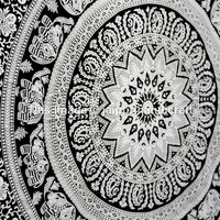 , Mandala wall hanging, tapestry wall hanging, bohemian tapestries, star mandala, elephant mandala, elephant tapestries, white black tapestries