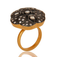 Black Rhodium Plated Sterling Silver CZ Cocktail Ring With Gold Plated