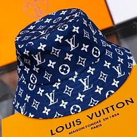 LV New fashion monogram print couple cap fisherman hat Blue