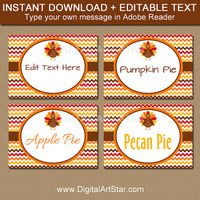 Fall Place Cards - Fall Wedding Labels - Printable Turkey Labels - EDITABLE Thanksgiving Buffet Cards - Thanksgiving Food Label Template T3