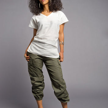 NEW Authentic Vintage Olive Green Womens' French Cargo Pants (Small-Large)