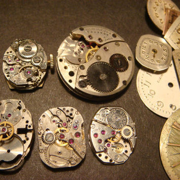 Steampunk Elgin Watch Movement Lot - Supply, Assemlage, Scrapbooking  - Antique Watch Parts for Jewelry, Altered Art (933)
