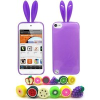 Apple iPod Touch 5 (iTouch 5th Generation) Bunny Skin Case, 1 Fruity Dust Plug, Purple [Cellular Connection Packaging]