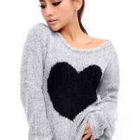 Sweet Heart Round Neck Pullovers Sweater  S008874