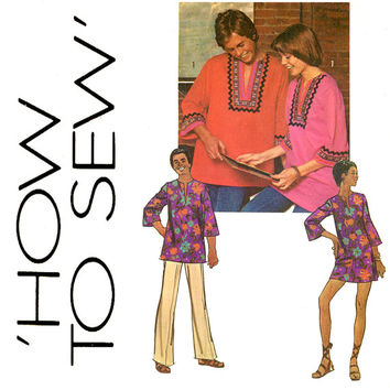 1970s Dashiki Tunic Dress Pattern Bust 36 Simplicity 5828 African Clothing How To Sew Womens Vintage Sewing Pattern Rick Rack and Braid Trim