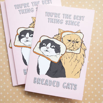 Cat Valentine's Day Love greeting card - bread cat - cat breading - breaded cat - blank inside, white envelope - Supporting Animal Rescue