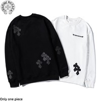 Chrome Hearts sells men's and women's single-color crucifix embroidered hoodies