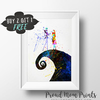 Jack And Sally Art Print Poster, The Nightmare Before Christmas Wall Art, Nursery Decor Printable Download, Large Printable Wall Art