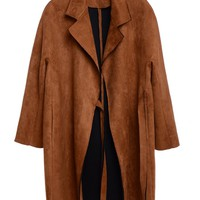 Suede Trench Coat With Belt Closure