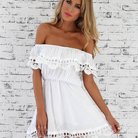 Off shoulder Scallop Crochet Lace Mini Dress