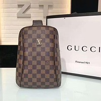LV Louis Vuitton New Popular Monogram Leather Chest Bag Shoulder Bag Backpack Coffee Tartan I-AGG-CZDL