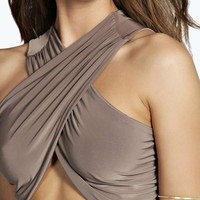 Lulu Wrap Over Slinky Ruched Crop Top