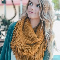 Pointelle Knit Fringe Accent Infinity Scarf