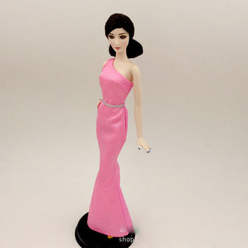 Original dolls dress For Barbie Pink Silver Glitter BB003 Dress Party Gown