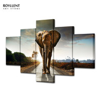 Unframed 5 Pcs Morden canvas painting Elephant  Wall Art Picture for Home Decoration Living Room Painting-Large Canvas combined