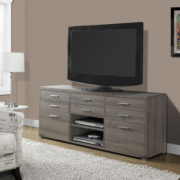 """Dark Taupe Reclaimed-Look 60""""L TV Console with 8 Drawers"""