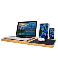 Laptop Lap Desk Tray Board, Organic Bamboo Multi-Tasking Laptop Tablet Ipad Cell phone Stand Holder with Built-in Mouse Pad