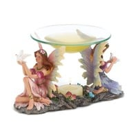 Twin Fairies Decorative Tealight Candle Oil Warmer