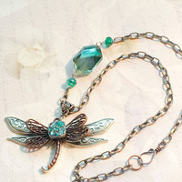 Steampunk necklace steampunk dragonfly steampunk jewelry vintage dragonfly Victorian necklace vintage Victorian jewelry The Urban Disciple