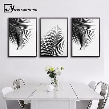 Black White Palm Tree Leaves Canvas Posters and Prints Minimalist Painting Wall Art Decorative Picture Nordic Style Home Decor