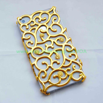 SALE  ------------  Iphone 4 4S golden curve Case with golden  flower fit Iphone 4, Iphone 4s, iphone 4g, Iphone 4gs AT&T Verizon Sprint