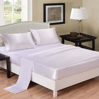 Solid Color White and Black Fitted sheet Flat sheet Pillowcase Satin Silk Twin Full Queen King US size Bed Sheet Set