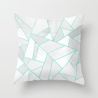 White Stone with Turquoise Lines Throw Pillow by Elisabeth Fredriksson