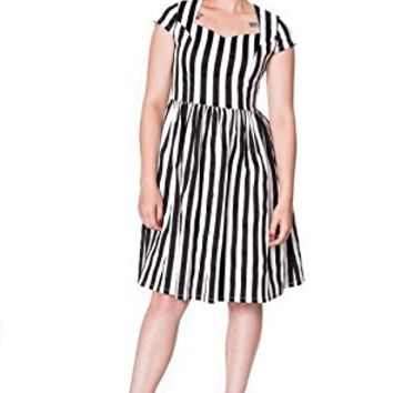 Banned Gothic Black and White Stripes Heart to Heart Dress