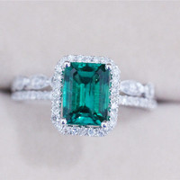 Discount 2.33ct Emerald Ring with Diamond Matching Band Wedding Ring Set 14K White Gold Emerald Engagement Ring