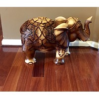 Wooden Hand Carved Elephants