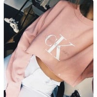 Round-neck Tops Crop Top Long Sleeve Hoodies [9522169028]