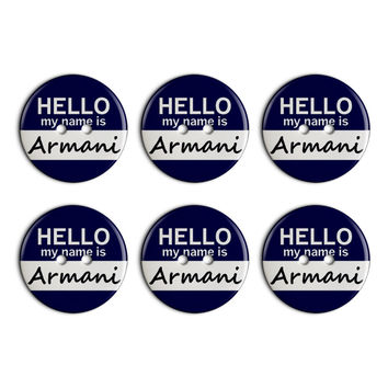Armani Hello My Name Is Plastic Resin Button Set of 6