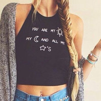 Women Crop Tops Casual Letter Printed Halter Vest Tank Tops