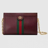 Gucci New Fashion Women Fashion Stripe Leather Chain Crossbody Handbag Shoulder Bag Satchel Burgundy