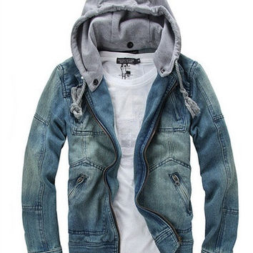 Mens Fashion Hooded jeans Parka Jacket WINTER WARM Coat Thicker jacket = 1697511492
