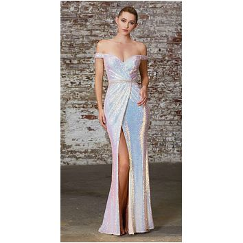 Long Off The Shoulder Iridescent Sequin Opal Gown Gathered Waistline