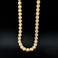 14K Gold Plated Iced Out 1 Row Cluster Chain