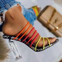 2020 new women's color thin strap crystal thick super high heel sandals shoes