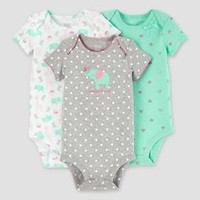 Baby Girls' 3 Pack Dot Elephant Bodysuit Set Grey/Mint - Just One You™ Made by Carter's® : Target
