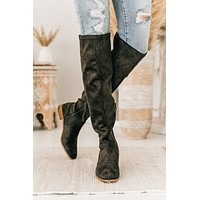 Much Obliged Faux Suede Knee High Boots (Charcoal)