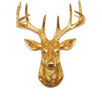 Faux Deer Mount - The MINI Franklin - Gold Resin Deer Head- Stag Resin Gold Faux Taxidermy- Chic & Trendy