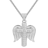 Sterling Silver Bling Cross with Wings Pendant Chain